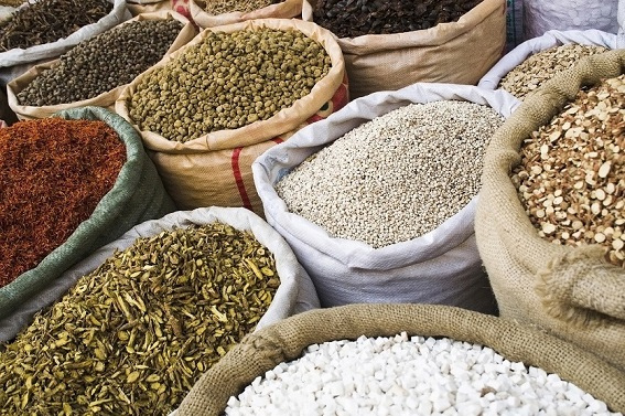 Chinese herbs  on display in an herb market.