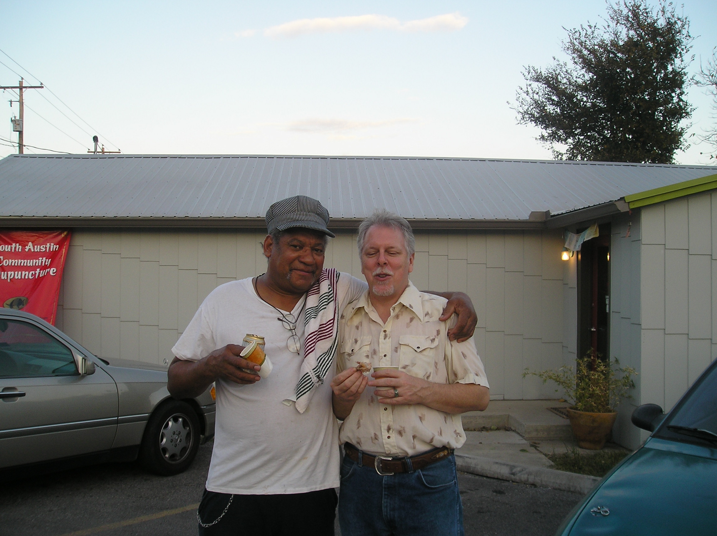 Musician friends Wallace Hawkins and Steve Carter celebrate at our 1st anniverssary.
